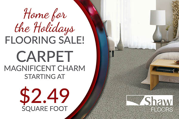 Shaw Floors Magnificent Charm carpet starting at $2.49 sq.ft. during the Home For the Holidays flooring sale at BK Flooring in Evansville!