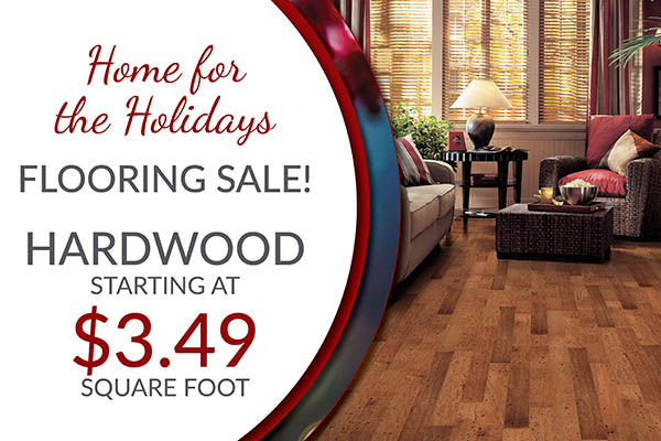 Hardwood starting at $3.49 sq.ft. during the Home for the Holidays flooring sale at BK Flooring in Evansville!