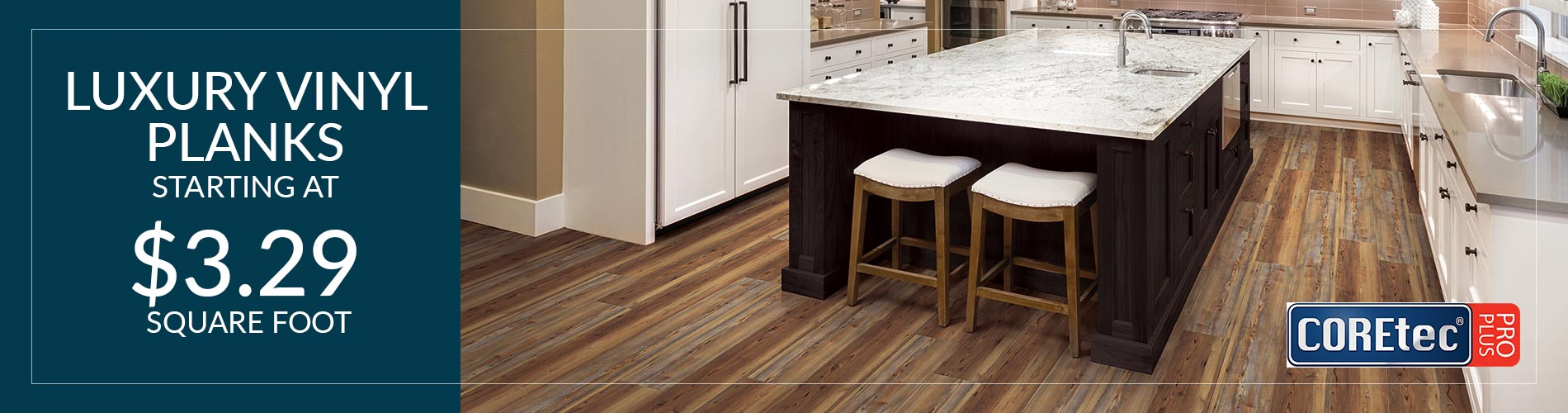 COREtec Pro Plus Luxury Vinyl Plank on sale now starting at only $3.29 sq.ft. - Get this amazing deal and others like it only at BK Flooring in Evansville, Indiana